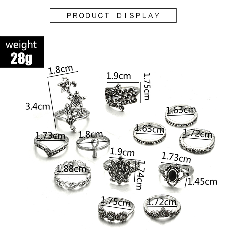 HuaTang Bohemian Antique Silver Ring Geometric Elephant Flower Green Rhinestone Knuckle Rings Midi Finger Anel Rings Jewelry 92