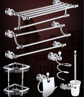 Top High Quality Solid Brass Chrome Finish Bathroom Accessories Set Robe Hook Paper Holder Towel Bar