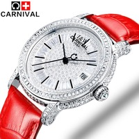 2018 Carnival Mechanical Watches Genuine Leather Fashion Leisure Lady Clock Brand Women Watch Luxury Jewelry Austrian Crystal