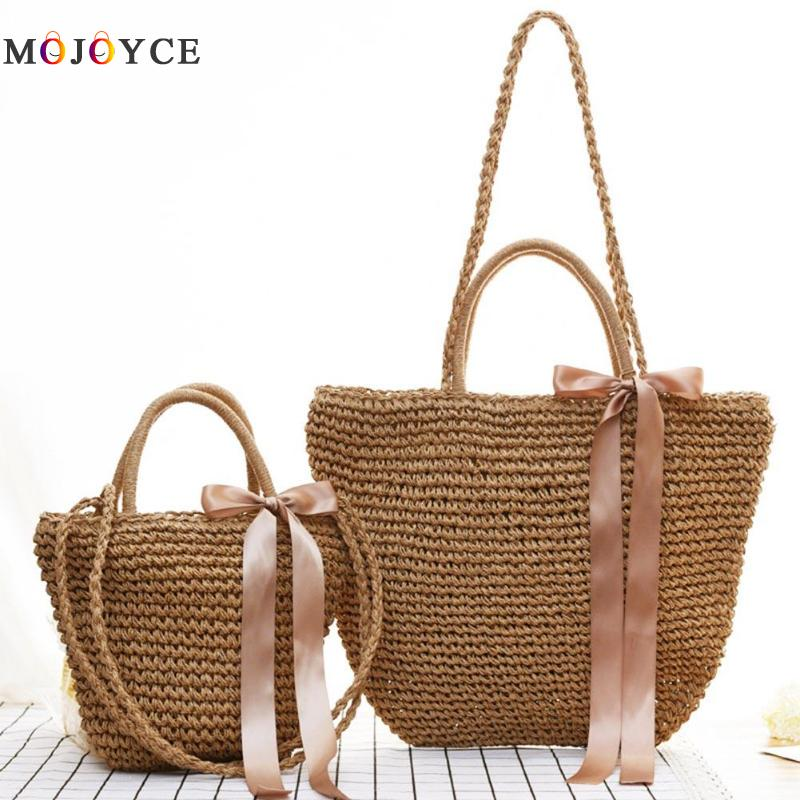 Summer Women Ribbon Bowknot Shoulder Bag Bohemian Woven Beach Straw Bag Female Boho Beach Totes 2018 new fashion circular beach bag summer women shoulder bags round shape straw bag boho vintage retro beach handbag