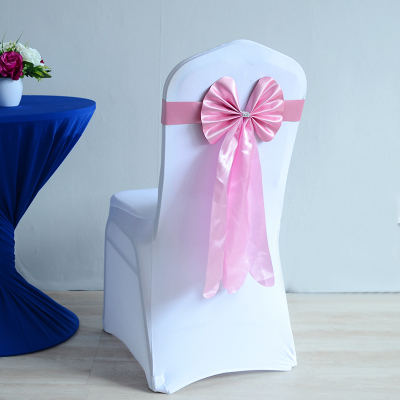 Colour Pink Wedding Chair Sash Long Tail Wedding Butterfly Bow Tie Lycra Band Stretch Bow Tie Ribbon For Weddings Wholesale