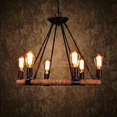 Country Retro Loft Style Vintage Industrial Pendant Light Lamp With 6 Lighting Hemp Rope