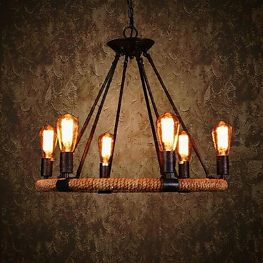 Country Retro Loft Style Vintage Industrial Pendant Light Lamp With 6 Lighting Hemp Rope ...
