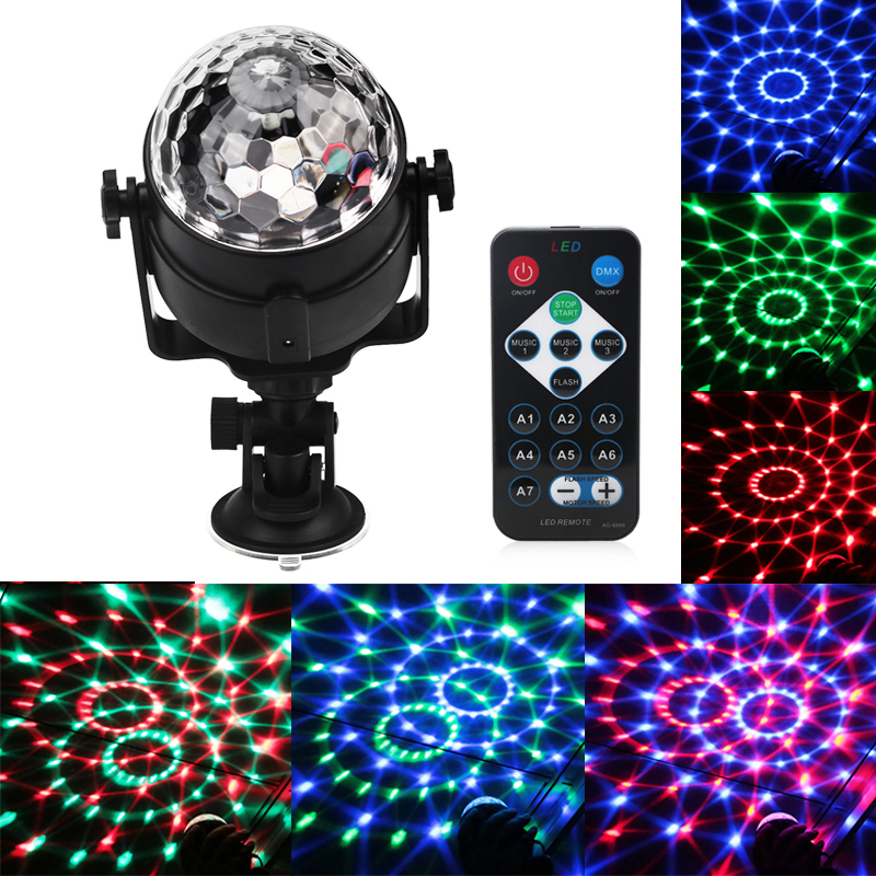 Voice Control USB RGB LED Stage Lamps 5V Crystal Magic Ball Sound Control Laser Stage Effect Light Party Disco Club DJ Light