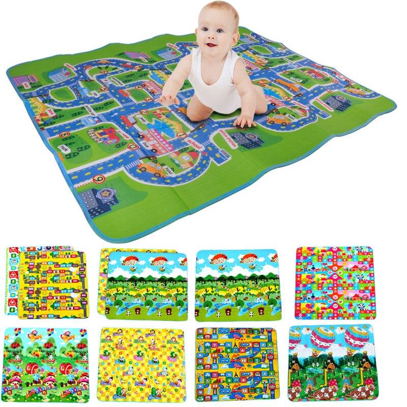 160 * 130 cm-es baba Play Mats City Road szőnyegek szőnyegek Gyermekek csúszó szőnyeg szőnyeg Eva hab fejlődő puzzle játék Mat gyerekeknek