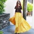 Yellow Floor-Length Cotton Solid Skirt Summer Autumn Plus Size 6XL 7XL BOHO Beach Maxi Long Skirt Women 2016