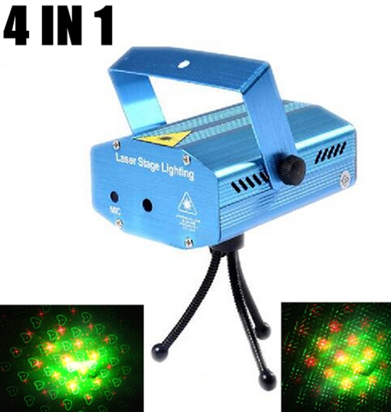 AC100V-220V Club DJ Disco Mini Laser Light Projector Stage Lazer Light Party Green Red 4 IN 1 Function with Tripod US EU Plug new arrivals 5v 1 5a ac adapter stars gypsophila laser disco dj xmas party stage projector light eu plug black