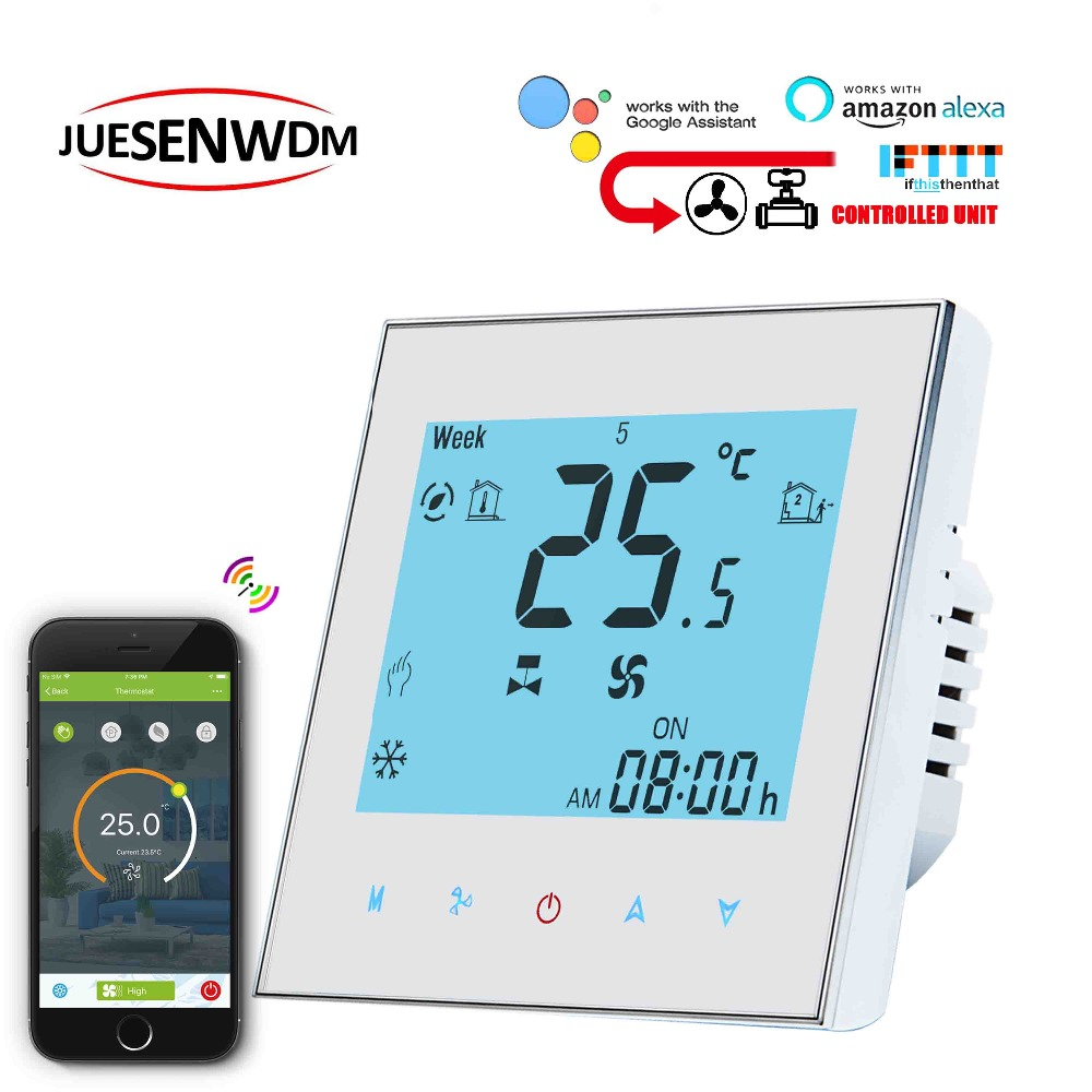 TUYA Voice Interaction 2p 4p FCU Room Thermostat WIFI 3 Speed Heating Cooling For Air Conditioning Thermostat