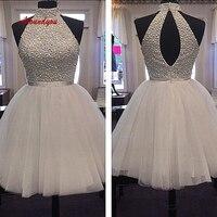 White Luxury Short Homecoming Dresses Plus Size Mini Semi Formal Graduation Cocktail Prom Party Dresses