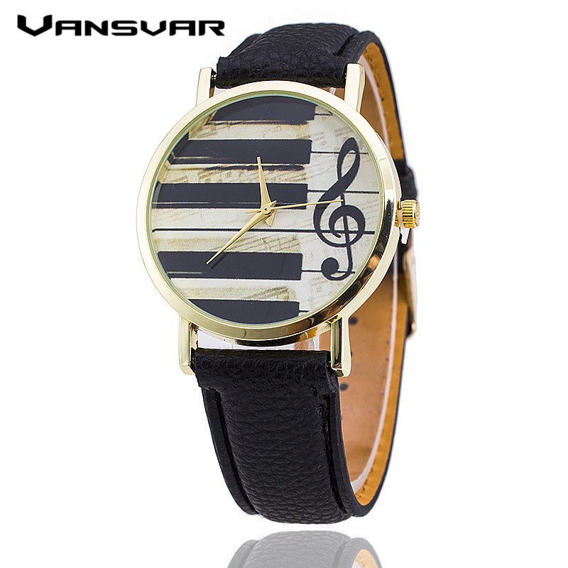 Vansvar Brand Leather Strap Piano Keys Watch Relogio Feminino Fashion Women Wristwatch Casual Luxury Quartz Watches Hot Selling