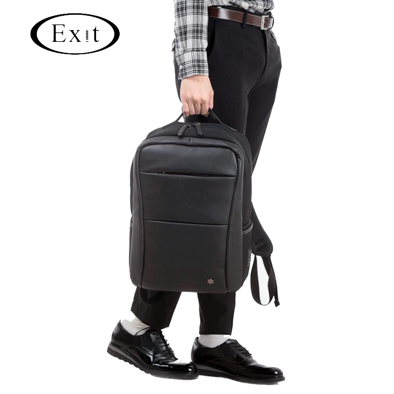Sac à dos classique en cuir PU sac de voyage étanche sac à bandoulière pour ordinateur portable de grande capacité pour les sacs à dos d'ordinateur Mochila masculin adolescent