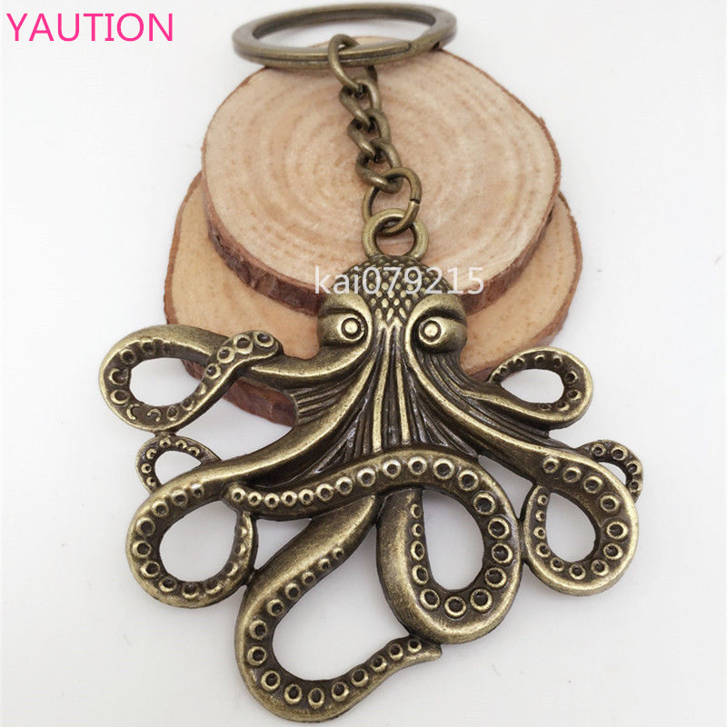 Octopus Key Ring Stevenunk Nautical Squid Kraken Pirate Bronze Jewelry broad paracord