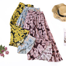 Big Flower Skirt 2019 Spring and Summer Fashion Print Pleated Mid-length Bottom Vintage Art
