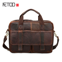 AETOO New Europe And The United States Trend Of Mad Horse Leather Briefcase Men Fashion Portable