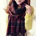 RASMEUP Xadrez mulheres lenços de inverno moda cashmere cachecol de lã Borla xale pashmina bufandas bufanda Espanha Grosso