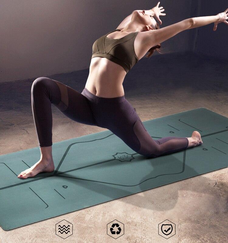 New 5MM yoga mat natural rubber mat PU fitness mat anti ...