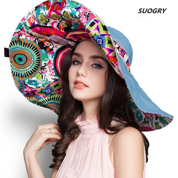 [SUOGRY] 2017 Fashion Design Flower Foldable Brimmed Sun Hat Summer Hats for Women UV Protection Free Shipping fashion design cute lol poro braum hats warm cosplay gift for kids girlfriend free shipping