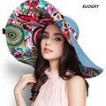 [SUOGRY 2017 diseño de moda flor plegable de ala ancha sombrero para el sol sombreros para las mujeres protección UV envío gratis