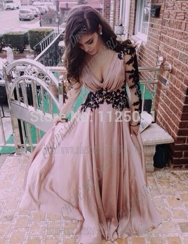 Custom Made Chiffon Deep V-Neck Long Full Sleeves Appliques A-Line Prom Dresses Ruffles A-Line Party Dress