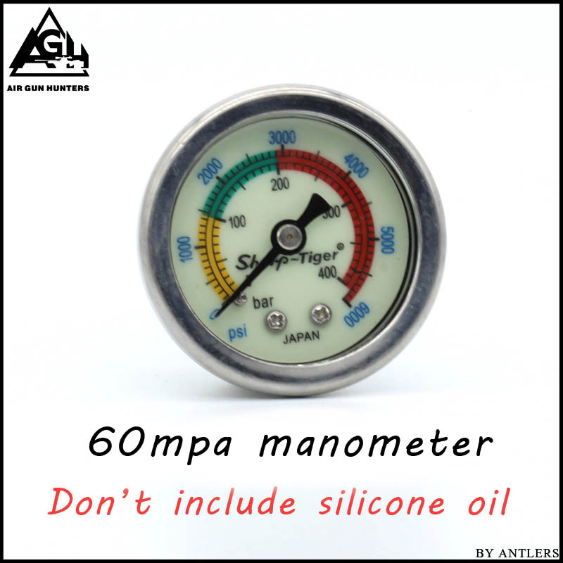 PCP Pump Compressor High Pressure Gauges Manometer 40mpa/400bar/6000psi 1.5 Inches 40mm Diameter M10*1 Thread