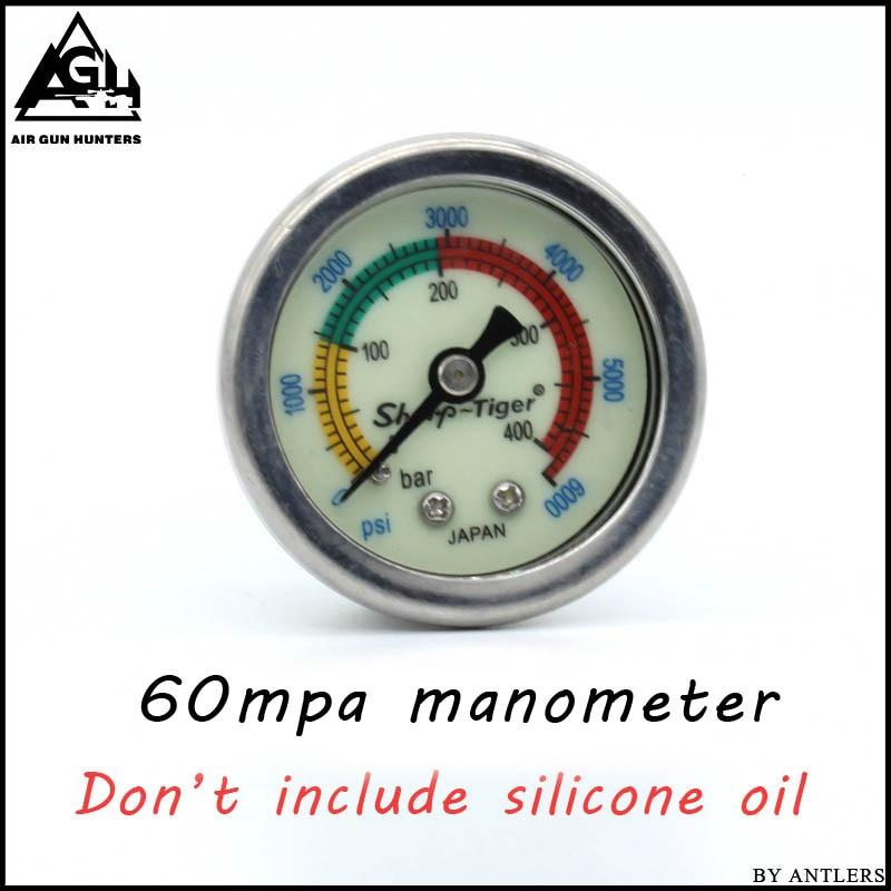 PCP Pump Compressor High Pressure Gauges Manometer 40mpa/400bar/6000psi 1.5 Inches 40mm Diameter M10*1 Thread