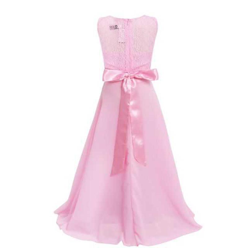 Summer Girls Dress Chiffon Sleeveless Infant Long Dress O Neck Girl Wedding Dresses Lace Kids Party Clothes Children Clothing (4)