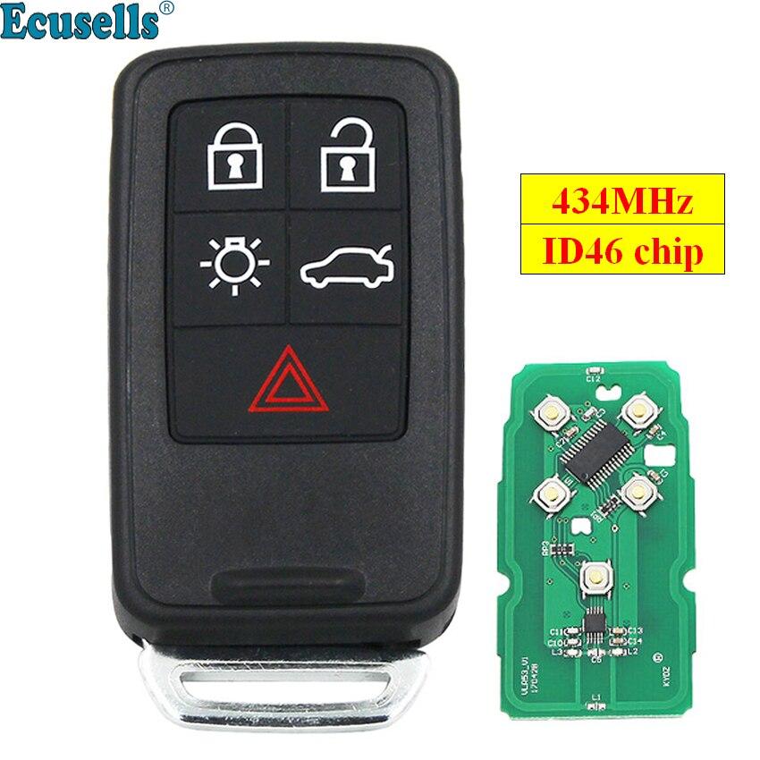 Neue Ersatz 5 Taste Remote Key Smart Auto Schlüssel Fob 434 Mhz ID46 Chip für Volvo XC60 S60 S60L V40 v60 S80 XC70 KYDZ Uncut Klinge