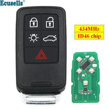 Nowy zamiennik 5 przycisk klucz zdalny inteligentny kluczyk samochodowy fob 434Mhz ID46 układu dla Volvo XC60 S60 S60L V40 V60 S80 XC70 KYDZ Uncut Blade tanie tanio ecusells FCC ID KR55WK49264 METAL+PLASTIC