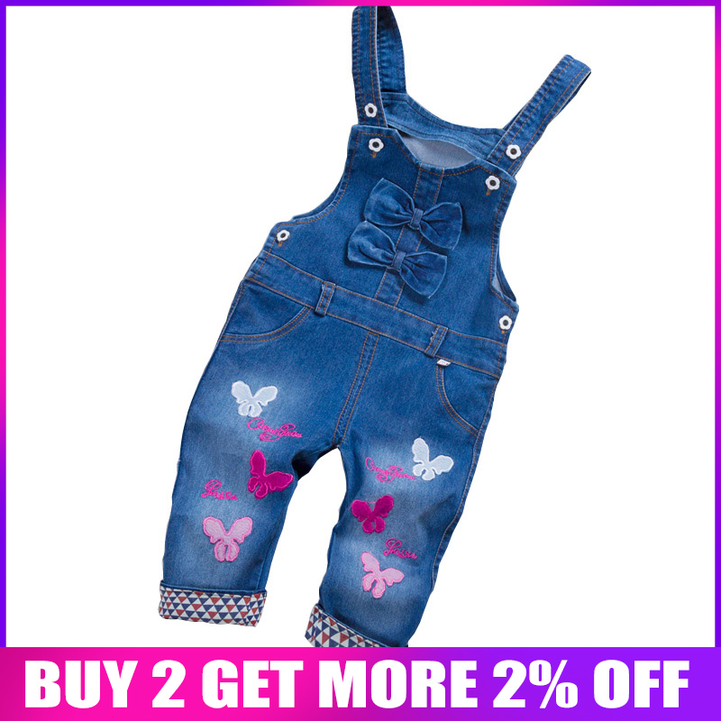 BibiCola Spring Autu Kids Overall Jeans Clothes Newborn Baby Denim Overalls Jumpsuits For Toddler/infant Girls Bib Pants(China)