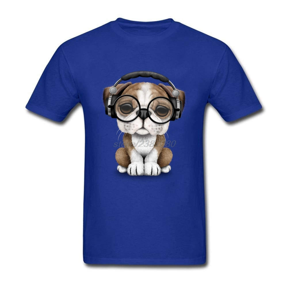 Mens T Shirts Homme English Bulldog Puppy Dj Wearing Headphones and Glasses Short Sleeve Shirts Bulldog Man Concert T Shirts
