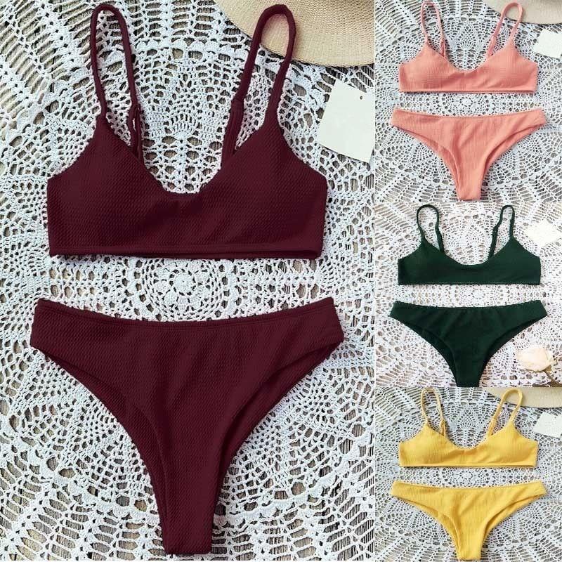 Buy Sexy Women Swimwear 2018 Summer Solid Bandage Bikini Set Push-up Bathing Brazilian Swimsuit Beachwear Swimming Suit Women