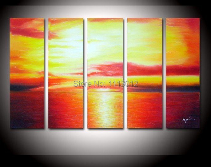 Hot Sale High Quality Yellow Clouds Sea Oil Painting On Canvas 5 Pcs Set Wall Art Picture For Living Room Home Decoration Modern