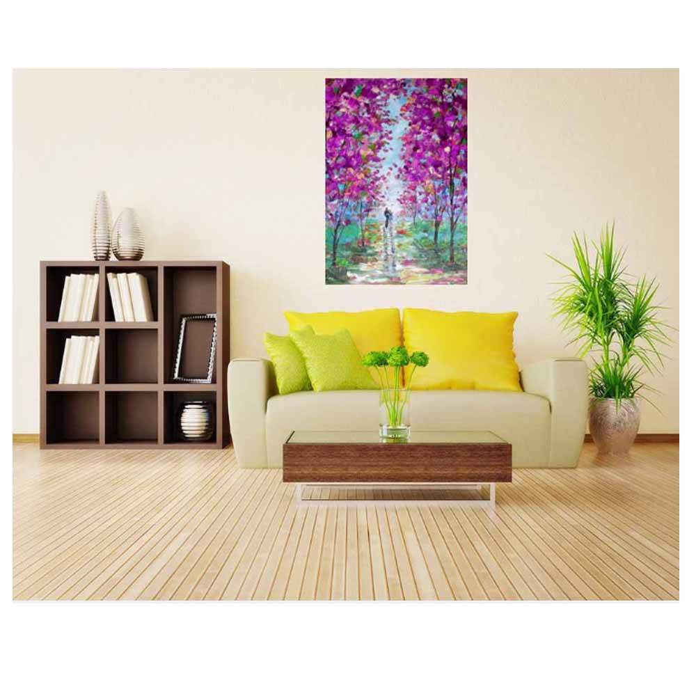 Wall Art Canvas Best selling Hand painted Lover Purple Flower Forest ...