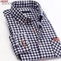 Primavera 2017 a nova camisa de lã xadrez de manga longa camisas de algodão lazer desgaste dos homens de lazer moda cultivar a moralidade