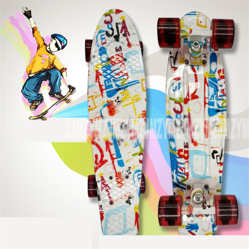 Colorful Graphic Printed 22 Inch Cruiser Skateboard Mini Plastic Skate Board Retro Longboard Outdoor Adult/Children Scooter