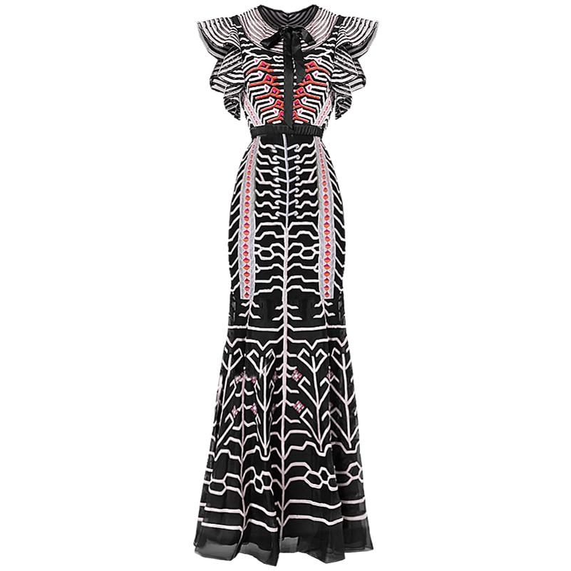 Qian han zi Dünne Paket gesäß Designer Runway Mantel Kleid Sommer frauen Bogen Schmetterling Hülse Mesh Streifen Stickerei Kleid-in Kleider aus Damenbekleidung bei  Gruppe 1