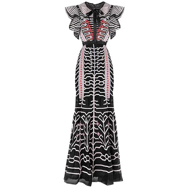 Qian han zi Slim Package buttocks Designer Runway Sheath Dress Summer Women's Bow Butterfly Sleeve Mesh Stripe Embroidery Dress