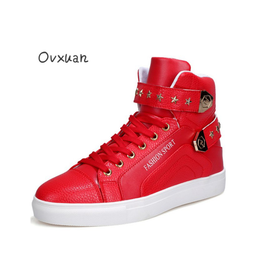 Ovxuan High Top Loafers Flat Sneakers Men Moccasins Casual Shoes Fashion Party Stars Rivets Male Dress Shoes Flats Pu Leather uexia leather casual shoes men fashion wedding retro oxfords breathable black high top lace up high quality flats male moccasins