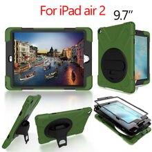 Para ipad air 2 resistente tablet case fundas pc silicio armor casos de la cubierta para apple ipad air 2 360 sostenedor del soporte de protección