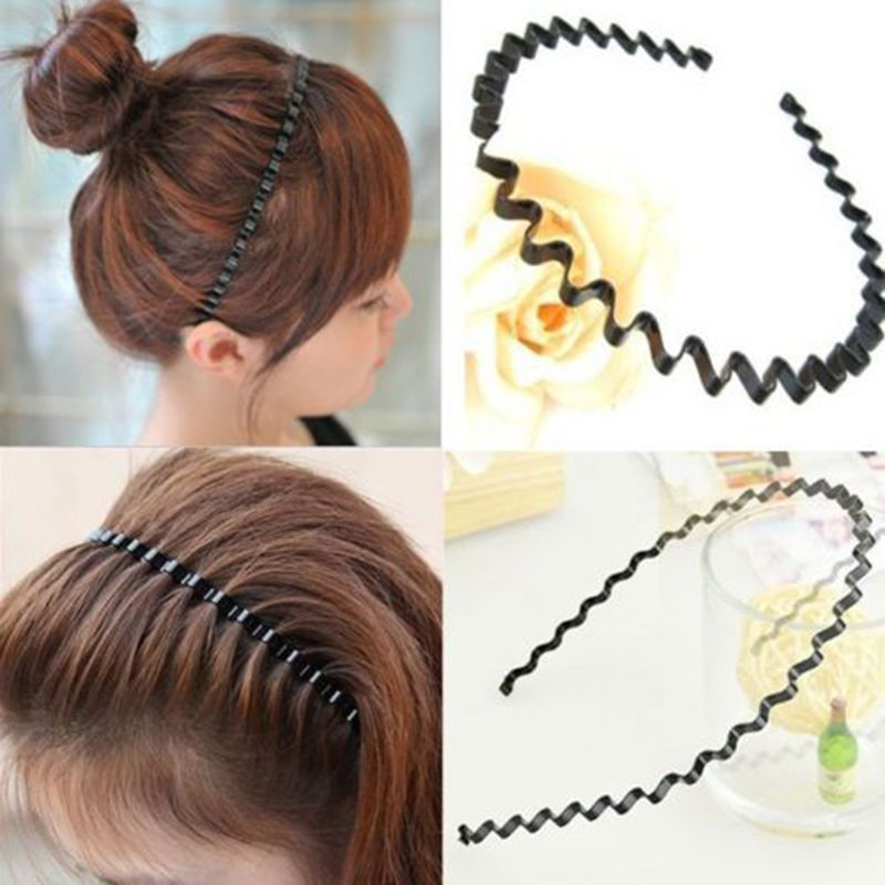 1 pc Fashion Mens Women Unisex Black Wavy Hair Head Hoop Band Sport Headband Hairband hair accessories ...