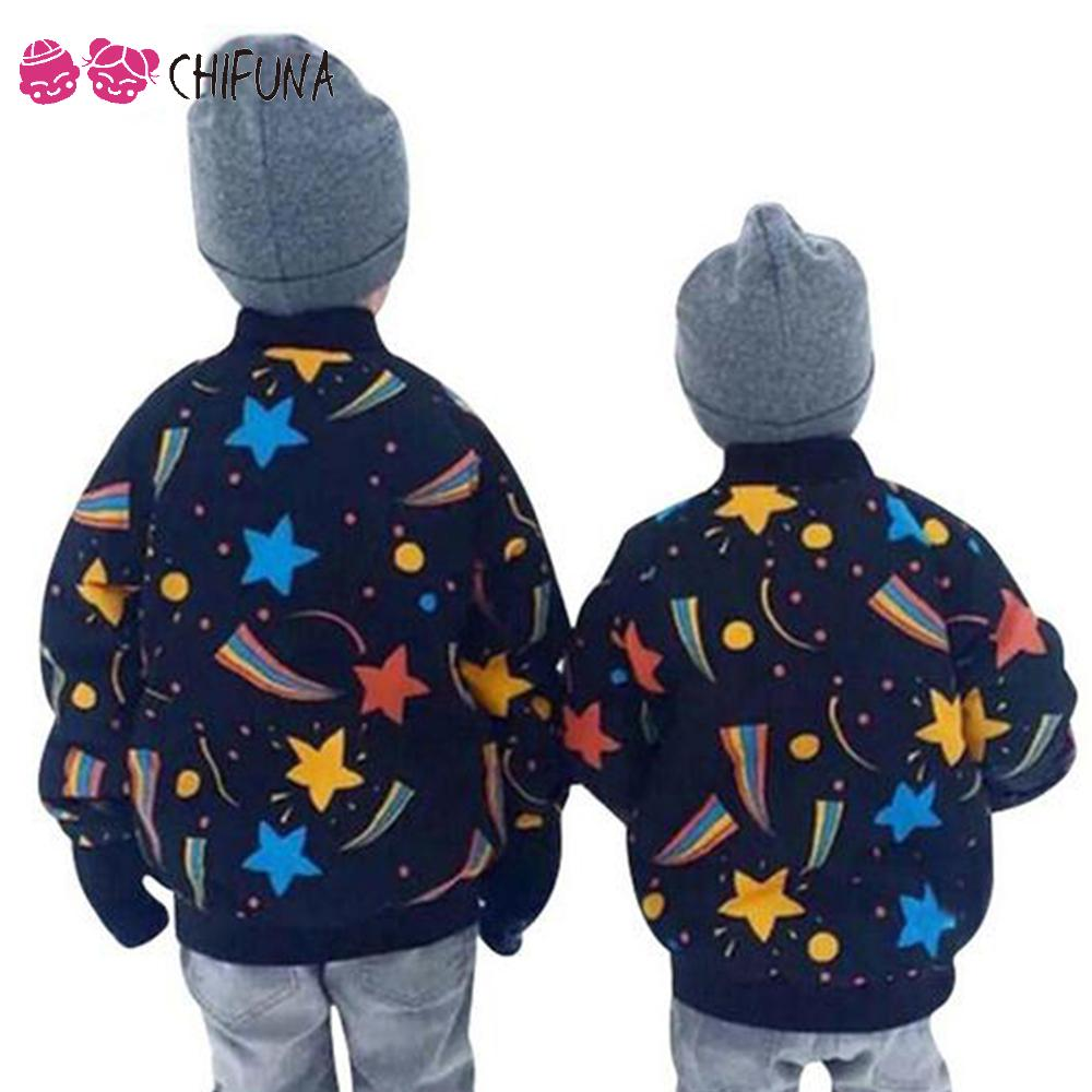 chifuna New Winter Autumn Girls Jacket Stars Space Pattern Kids Coat Outerwear Boys Thick Warm Parkas