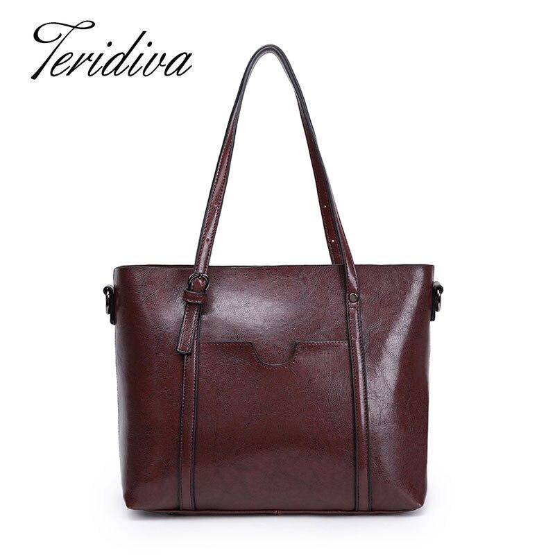 ФОТО Teridiva Vintage Design Shoulder Bags Women's Leather Handbag New 2017 Fashion Large Capacity Tote Bag Women Shoulder Bag Purse