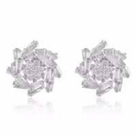 GrayBirds Copper With Clear AAA Cubic Zirconia Luxury Earrings For Office Lady Romantic Fashion Flower Jewelry XYE003
