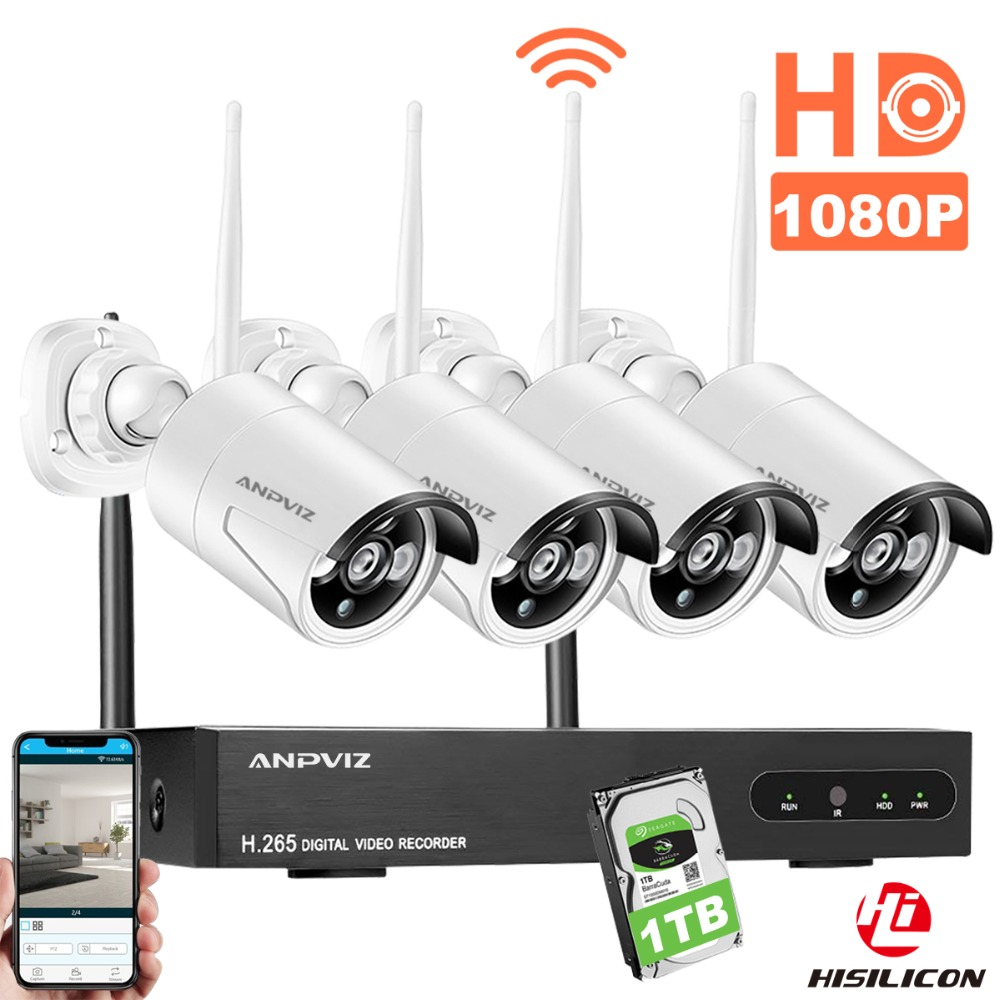 Anpviz 4CH 1080P Wireless NVR Kit WiFi CCTV Camera System Outdoor 2MP Security IP Camera P2P Video Surveillance System 1TB HDD