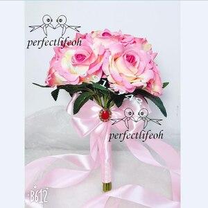 Image 2 - Perfectlifeoh 웨딩 부케 장식 foamflowers 로즈 신부 꽃다발 화이트 새틴 로맨틱 웨딩 꽃 신부 부케
