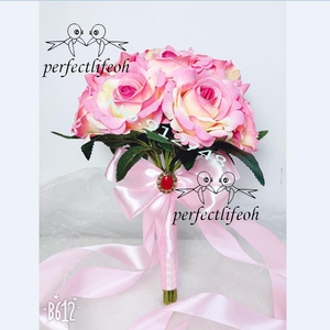 Image 2 - Perfectlifeoh باقة الزفاف الديكور زهور الورد باقة الزفاف الأبيض الساتان رومانسية الزفاف الزهور باقات الزفاف