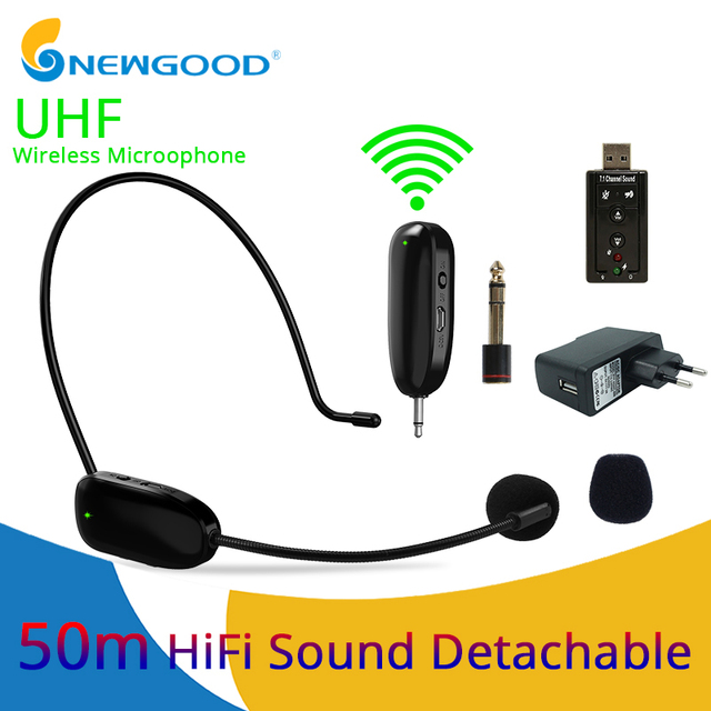 UHF Wireless Microphones Stage Wireless Headset Microphone System Mic For Loudspeaker Teaching Meeting Tour Guide Stage Karaoke