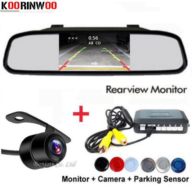 Koorinwoo Dual Core CPU 4 Parking Sensor Car Auto Reverse Rear view camera Assistance Backup Park Radar Alarm Kit Monitor System wireless car rear view kit 4 3 tft lcd vehicle screen monitor 170 wide degree mini reverse backup camera parking sensor 4 radar