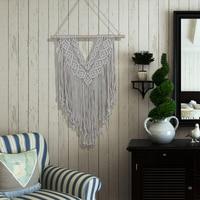 Tapestry Macrame Woven Wall Hanging V Shape Bohemian Tassel Tapestry for Apartment Dorm Living Room Decoration