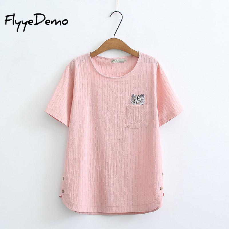6XL Plus Size New Summer Women Fashion Kawaii Embroidery Cat Tops Ladies Female Large Big Short Sleeve Cotton Linen T Shirt